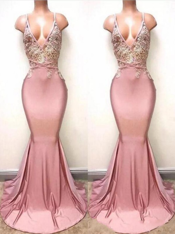 Fashion Trumpet/Mermaid V-neck Sleeveless Sweep/Brush Train Satin Dresses