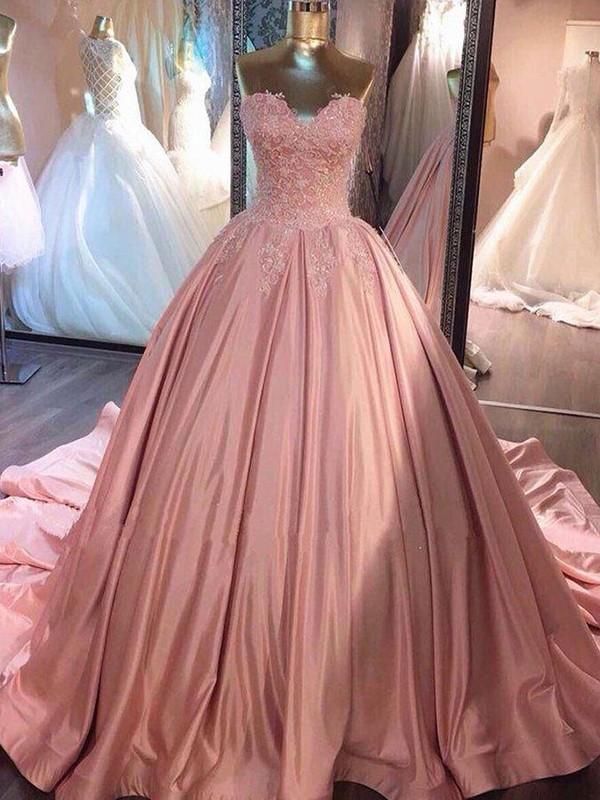 Cute Ball Gown Sweetheart Sleeveless Court Train Satin Dresses
