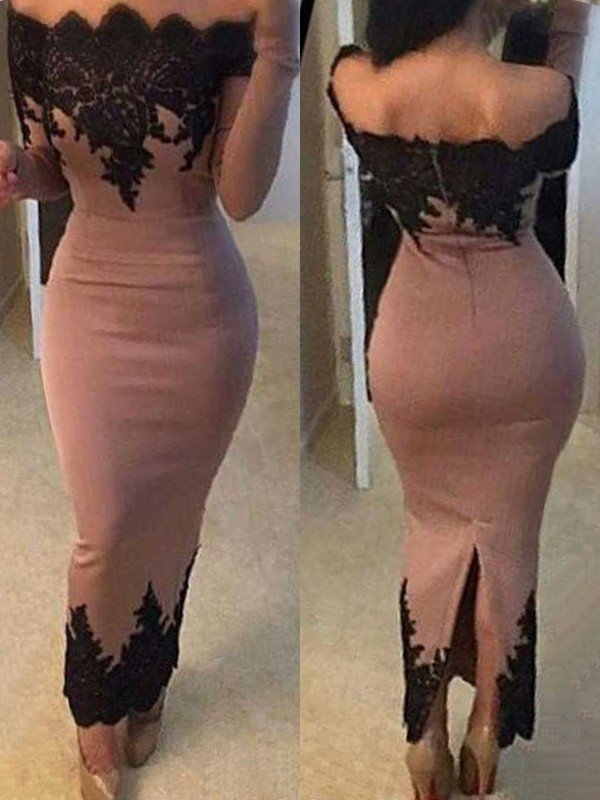 Cute Sheath/Column Off-the-Shoulder Ankle-Length Long Sleeves Satin Dresses