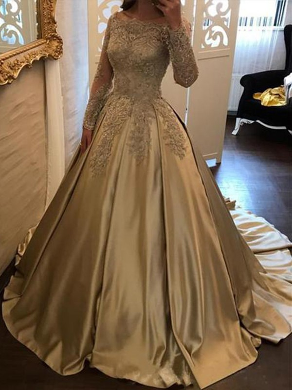 Ball Gown Off-the-Shoulder Long Sleeves Sweep/Brush Train Satin Dresses