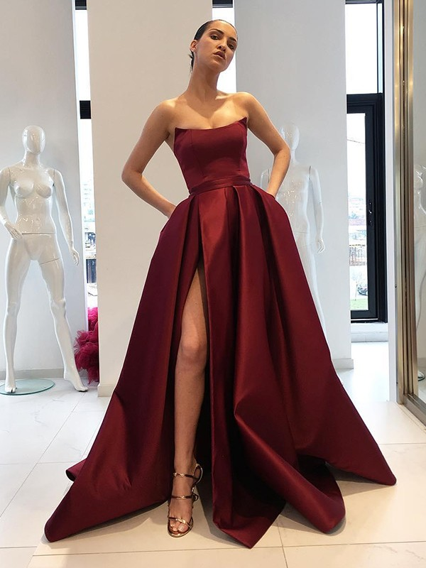 Ball Gown Strapless Sleeveless Sweep/Brush Train Satin Dresses