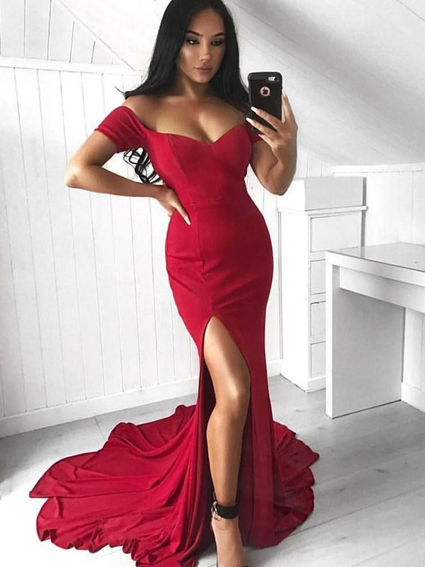 Trumpet/Mermaid Off-the-Shoulder Court Train Sleeveless Spandex Dresses