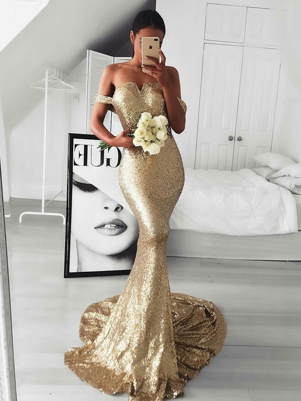 Trumpet/Mermaid Off-the-Shoulder Sweep/Brush Train Sleeveless Dresses With Sequins