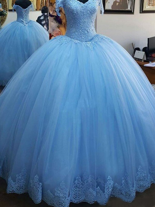 Off-the-Shoulder Ball Gown Sleeveless Sweep/Brush Train Tulle Dresses