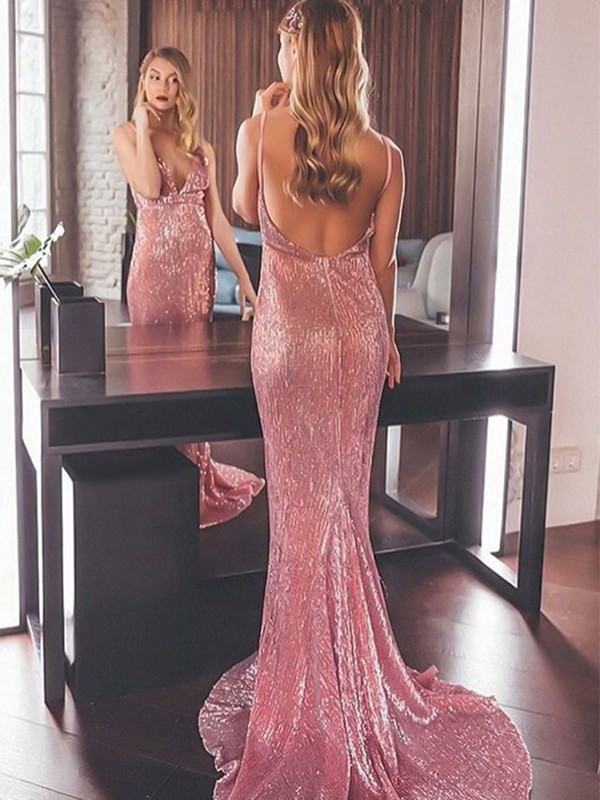 Trumpet/Mermaid V-neck Sweep/Brush Train Sleeveless With Sequins Dresses