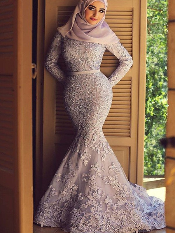 Sweep/Brush Train Mermaid Scoop Long Sleeves With Lace Muslim Dresses