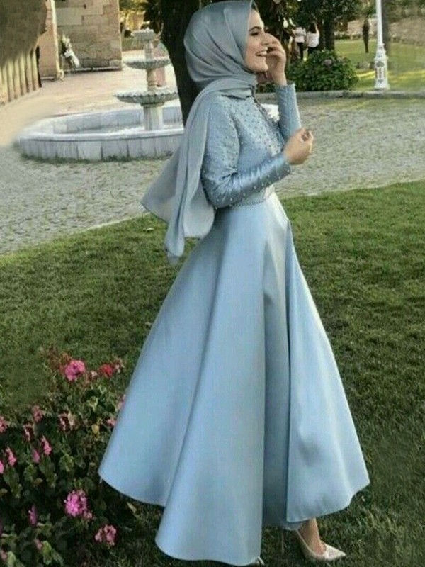 A-Line/Princess Scoop Floor-Length Long Sleeves Satin Muslim Dresses