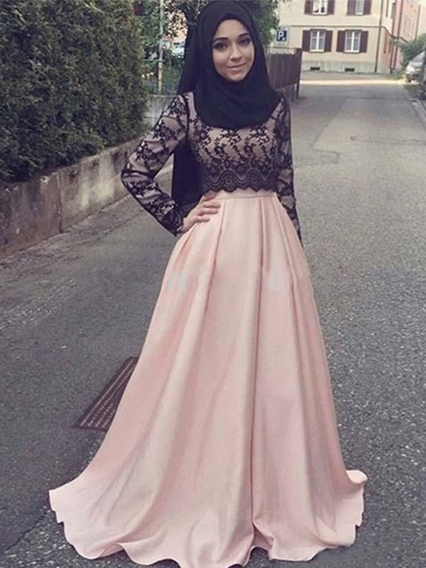 A-Line/Princess Scoop Long Sleeves Sweep/Brush Train Satin Muslim Dresses