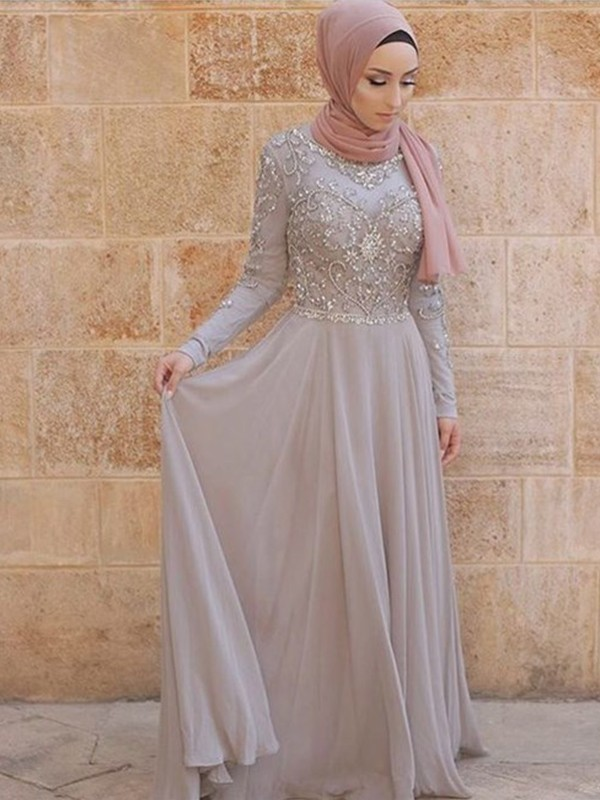 A-Line/Princess Scoop Sweep/Brush Train Long Sleeves Tulle Muslim Dresses