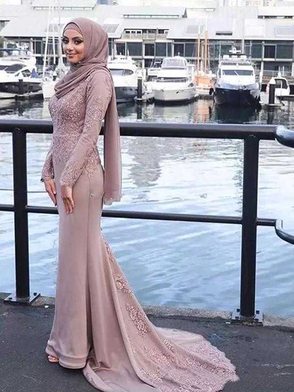 Sweep/Brush Train Trumpet/Mermaid Long Sleeves Scoop Satin Muslim Dresses