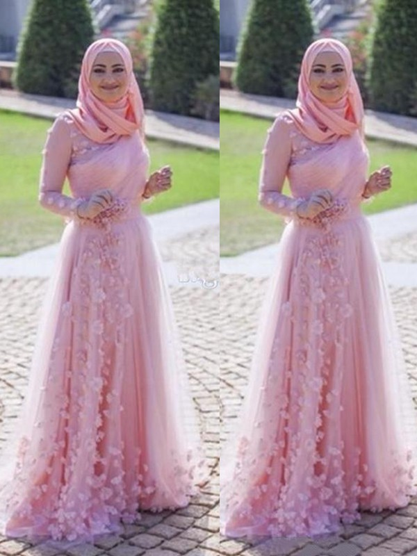 A-Line/Princess Scoop Long Sleeves Sweep/Brush Train Tulle Muslim Dresses