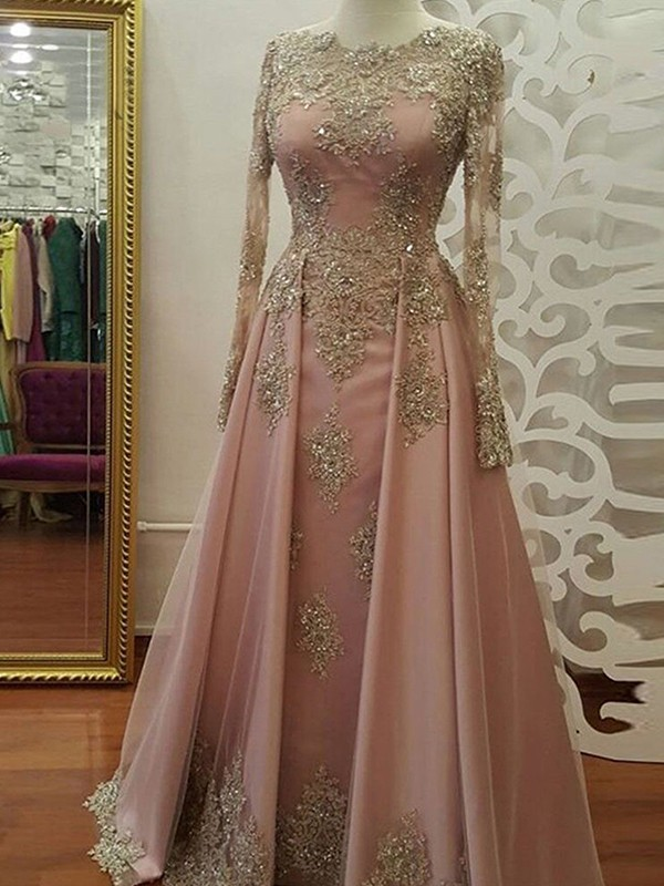 Delicate A-Line/Princess Long Sleeves Scoop Floor-Length Tulle Muslim Dresses With Applique