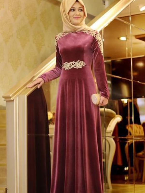A-Line/Princess Scoop Floor-Length Long Sleeves Velvet Muslim Dresses