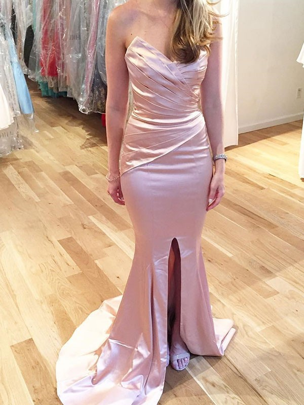 Trumpet/Mermaid Sweetheart Sweep/Brush Train Sleeveless Satin Dresses