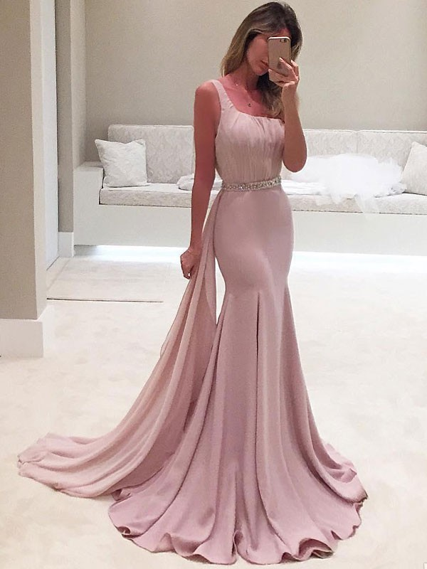 One-Shoulder Trumpet/Mermaid Sleeveless Chiffon Sweep/Brush Train Dresses