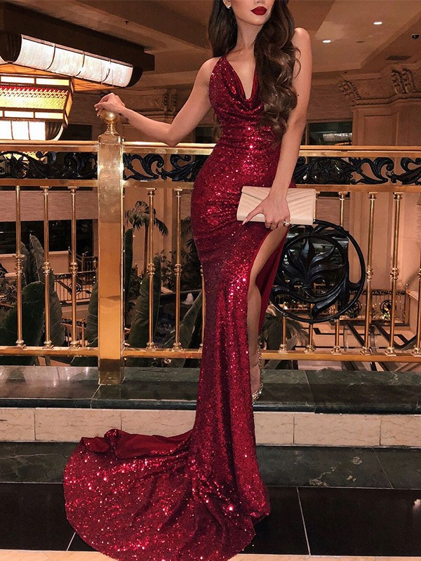 Trumpet/Mermaid V-neck Sleeveless Sweep/Brush Train Sequins Dresses