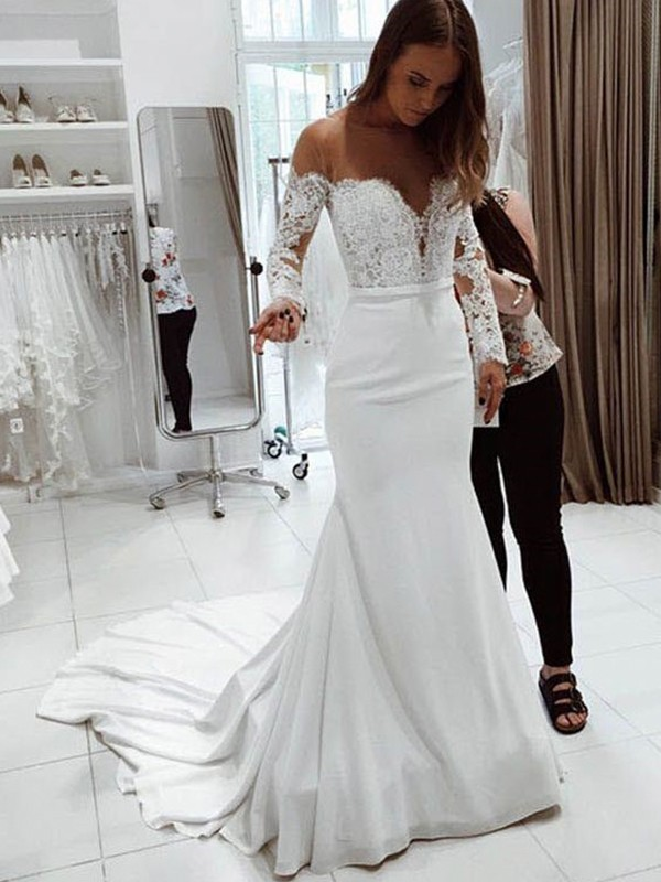 Trumpet/Mermaid Off-the-Shoulder Long Sleeves Court Train Chiffon Wedding Dresses