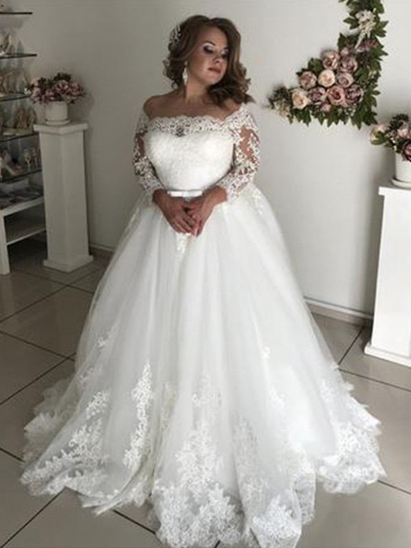 A-Line/Princess Off-the-Shoulder Long Sleeves Sweep/Brush Train Tulle Wedding Dresses