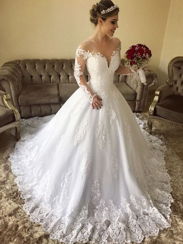 Ball Gown Off-the-Shoulder Sweep/Brush Train Long Sleeves Tulle Wedding Dresses