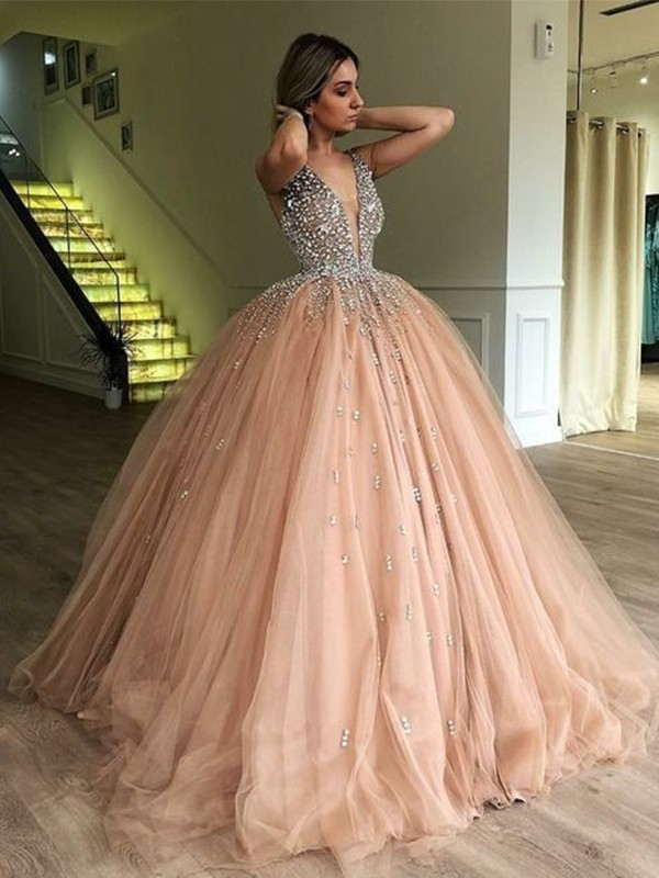 Fantastic Ball Gown V-neck Floor-Length Sleeveless Tulle Dresses