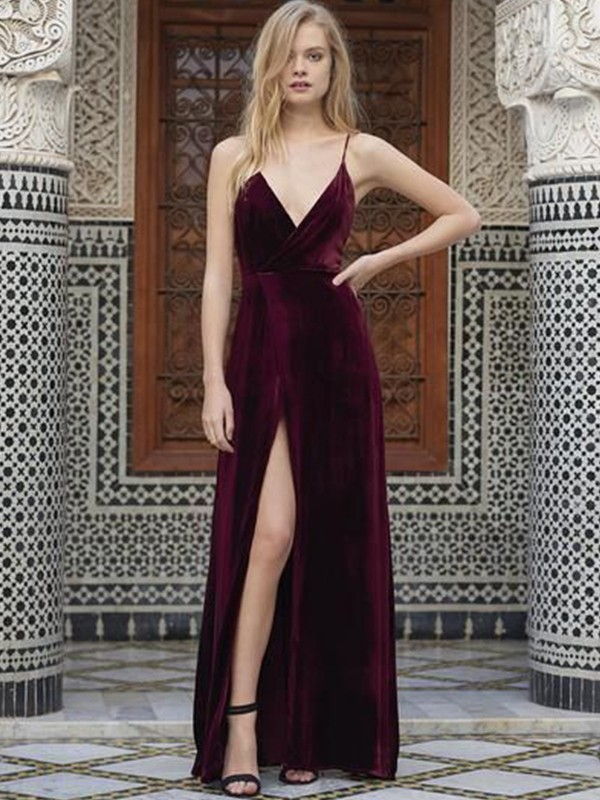A-Line/Princess Spaghetti Straps Floor-Length Sleeveless Velvet Dresses
