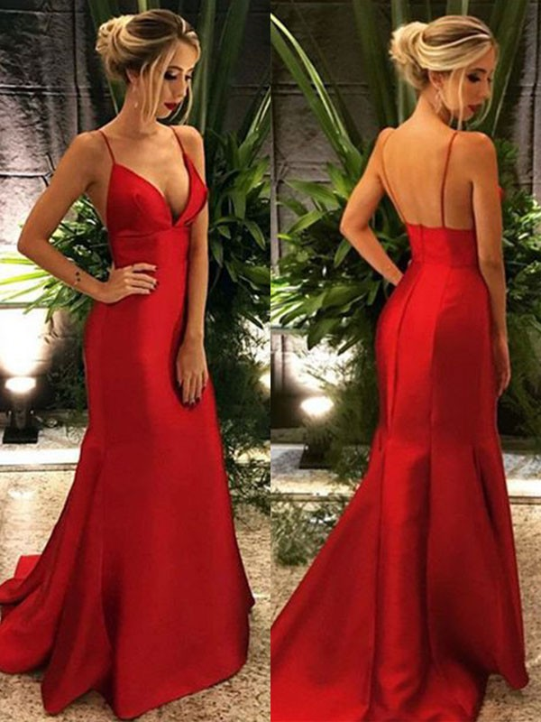 Trumpet/Mermaid Spaghetti Straps Sweep/Brush Train Sleeveless Satin Dresses