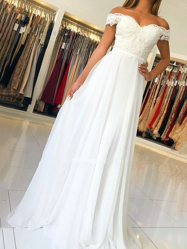 A-Line/Princess Off-the-Shoulder Sleeveless Chiffon Floor-Length Dresses
