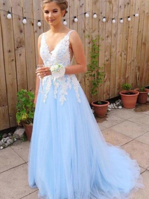 A-Line/Princess V-neck Sleeveless Tulle Sweep/Brush Train Dresses