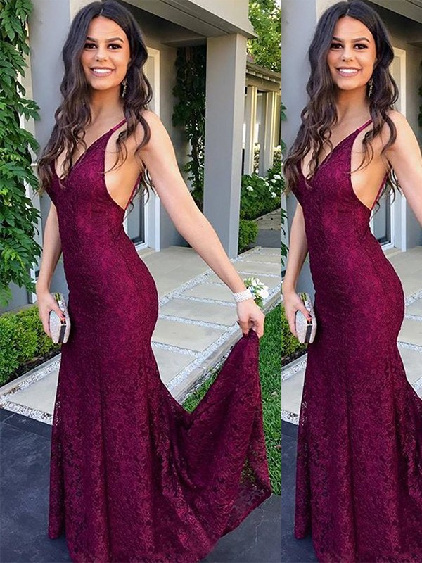 Beautiful Sweep/Brush Train Trumpet/Mermaid Sleeveless V-neck Lace Dresses