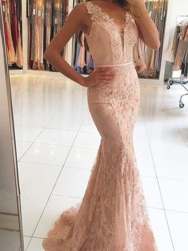 Trumpet/Mermaid Sleeveless V-neck Sweep/Brush Train With Applique Lace Dresses