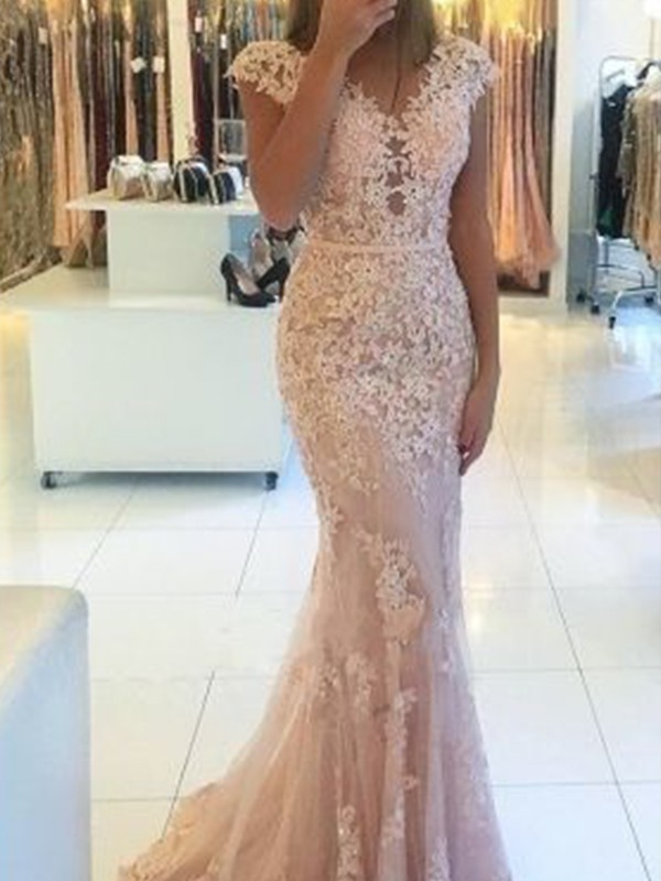 Trumpet/Mermaid Sleeveless V-neck Sweep/Brush Train Lace Dresses With Applique
