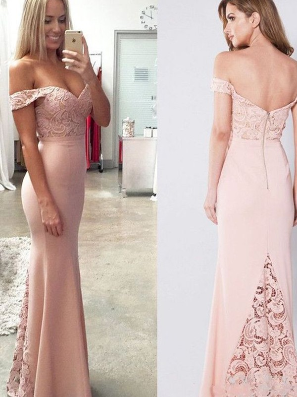 Sheath/Column Sleeveless Off-the-Shoulder Lace Floor-Length Spandex Dresses