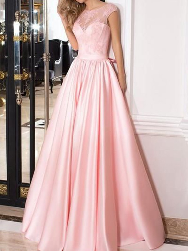 A-Line/Princess Sheer Neck Floor-Length Lace Sleeveless Satin Dresses