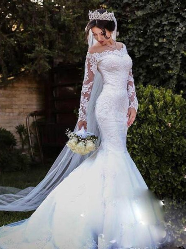 Trumpet/Mermaid Tulle Off-the-Shoulder Long Sleeves Lace Sweep/Brush Train Wedding Dresses