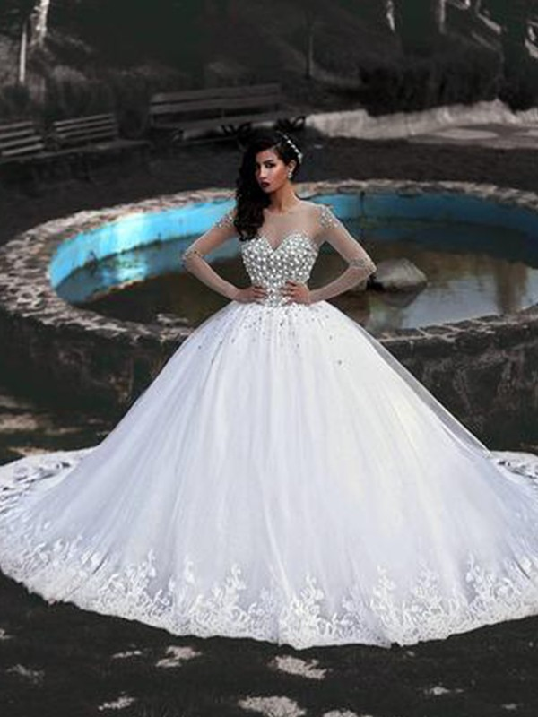 Ball Gown Tulle Scoop Long Sleeves With Beading Sweep/Brush Train Wedding Dresses