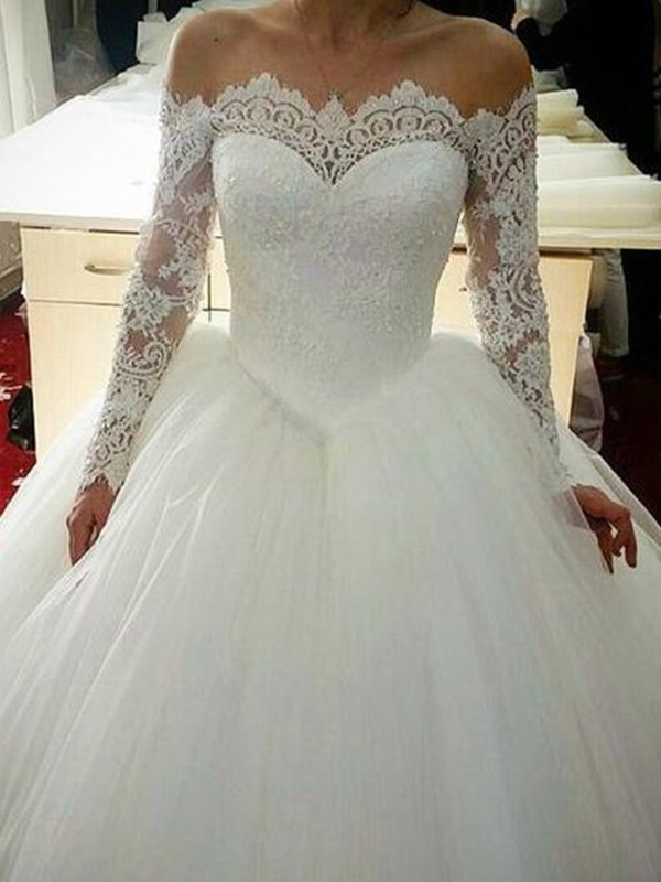 Ball Gown Tulle Off-the-Shoulder Long Sleeves With Applique Sweep/Brush Train Wedding Dresses