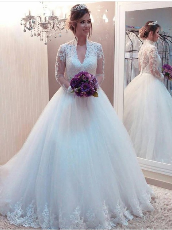 Ball Gown Tulle High Neck Long Sleeves With Applique Sweep/Brush Train Wedding Dresses