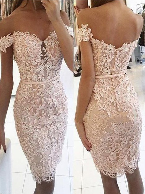 Sheath/Column Off-the-Shoulder Sleeveless Knee-Length Lace Homecoming Dresses