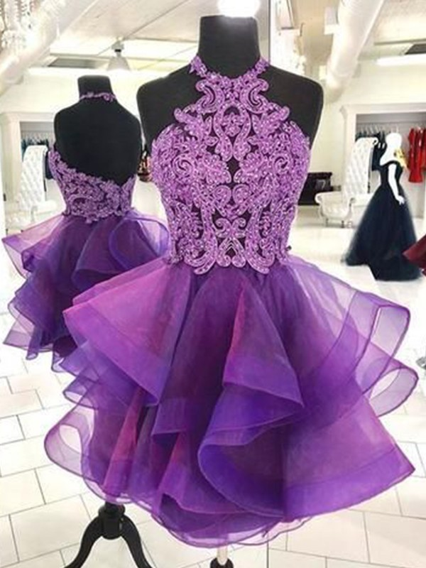 A-Line/Princess Halter Sleeveless Organza Short/Mini Homecoming Dresses With Beading