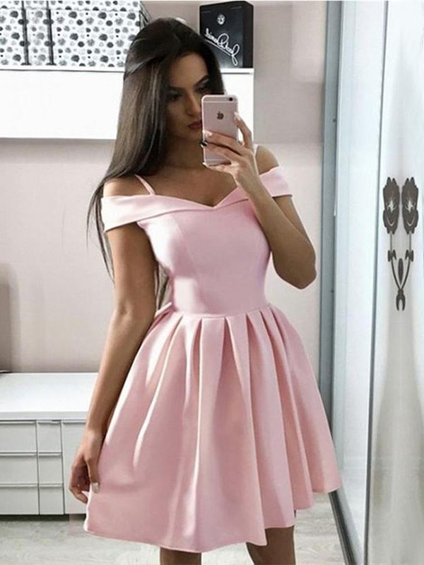 A-Line/Princess Off-the-Shoulder Sleeveless Satin Ruffles Short Dresses