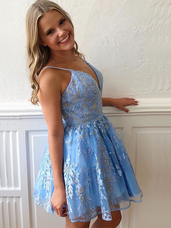 A-Line/Princess Spaghetti Straps Sleeveless Tulle With Applique Short Homecoming Dresses