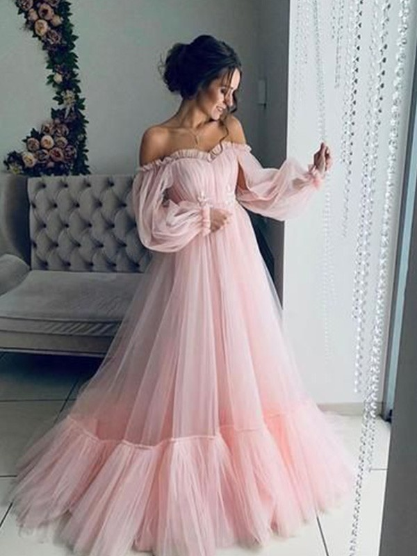 Dreaming Of You A-Line Off-the-Shoulder Tulle Long Sleeves Applique Long Dresses
