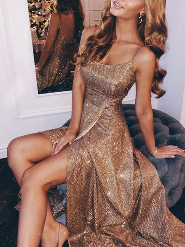 Dance All Night A-Line Sequins Spaghetti Straps Ruched Sleeveless Floor-Length Dresses