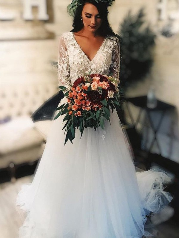 Show Me Love A-Line Tulle V-neck Long Sleeves Sweep/Brush Train Wedding Dresses with Applique