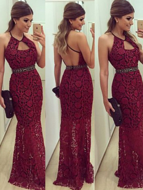 Floor-Length Sheath/Column Sleeveless Halter Lace Dresses With Beading