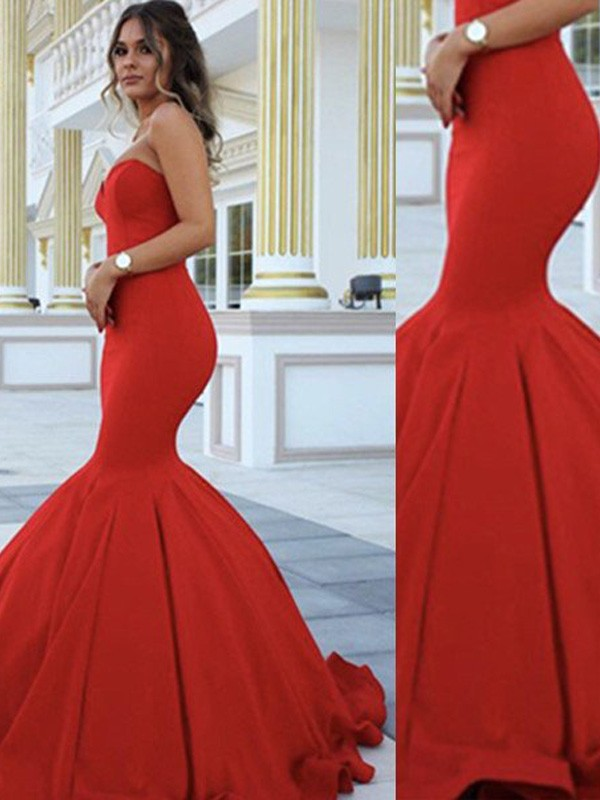 Fantastic Trumpet/Mermaid Sweetheart Sleeveless Sweep/Brush Train Satin Dresses