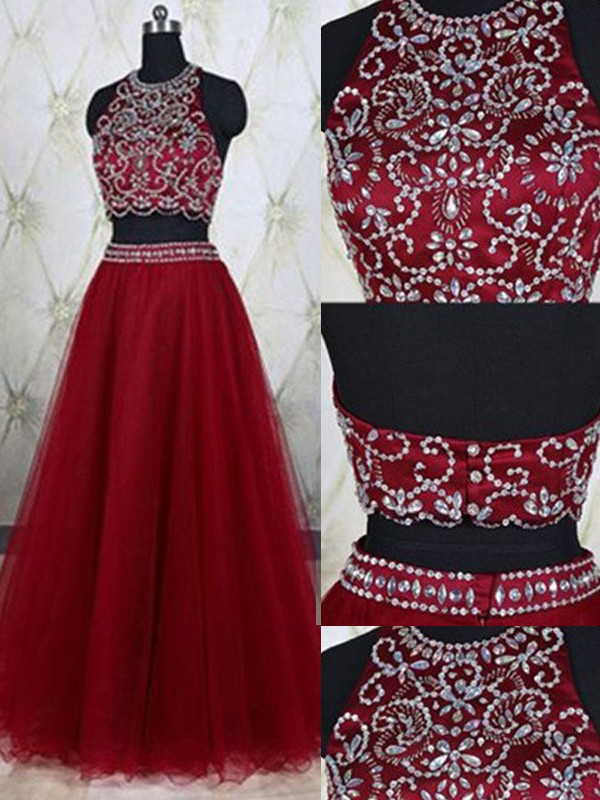 A-Line/Princess Floor-Length Sleeveless Jewel Tulle With Beading Two Piece Dresses