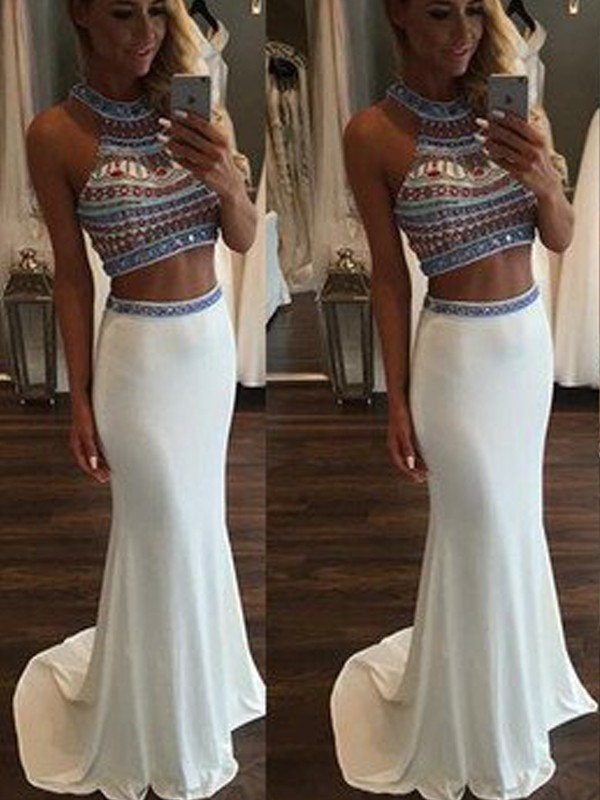 Sweep/Brush Train Mermaid Sleeveless Halter Chiffon With Beading Two Piece Dresses