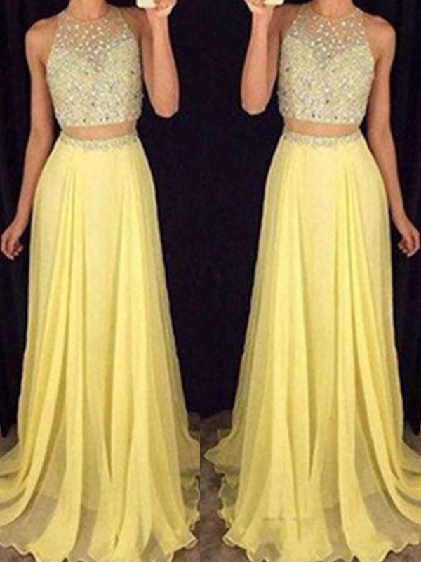 A-Line Scoop Neck Sweep/Brush Train Sleeveless With Beading Chiffon Two Piece Dresses