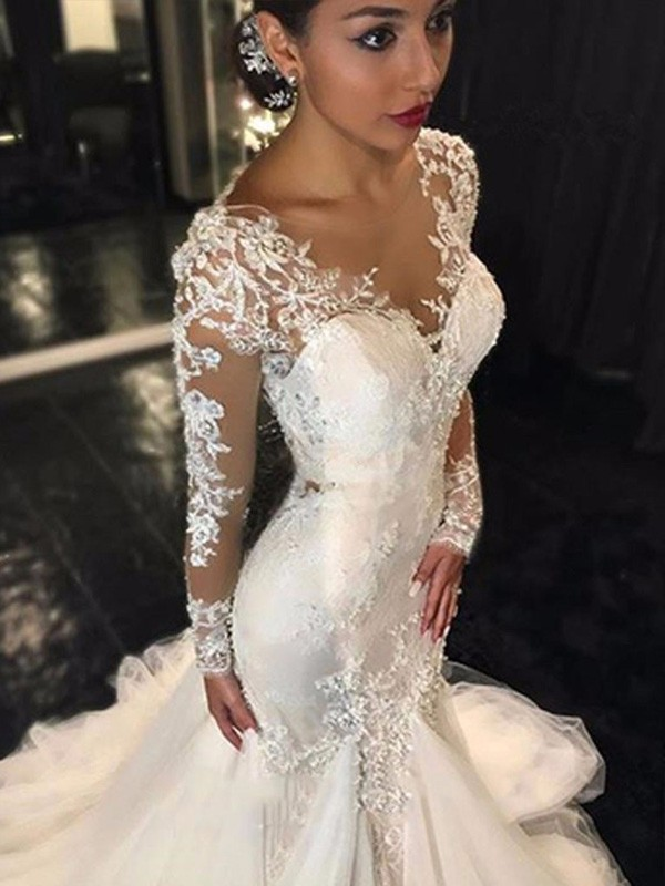 Court Train Mermaid V-neck Long Sleeves Lace Tulle Wedding Dresses